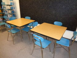 Sale Retro Old School Small Cafe Restaurant 4 Tables And 18 Blue Chairs Look Xlnt