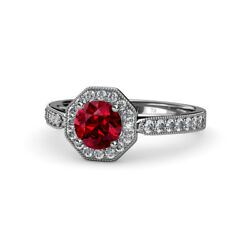 Ruby And Diamond Milgrain Halo Engagement Ring 1.03 Carat Tw In 14k Gold Jp55854