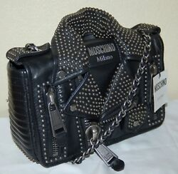 MOSCHINO Women's Studded Leather Jacket Bag with Chain Strap Black