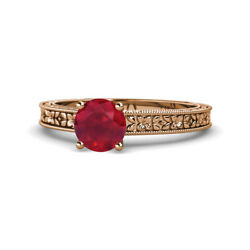 Ruby Solitaire Engagement Ring 0.95 Carat 14k Rose Gold Jp120289