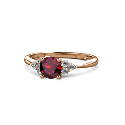 Ruby And Diamond 7 Stone Cluster Ring 1.19 Carat Tw In 14k Rose Gold Jp113715