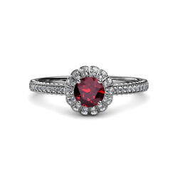 Ruby And Diamond Floral Halo Ring 0.95 Carat Tw In 14k White Gold Jp113056