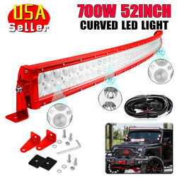 52 700w Red Led Light Bar Flood Spot Combo Offroad Driving 4wd Boat Free Wiring