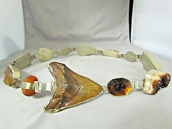 Rebecca Collins SIGNED Sterling Silver Mineral Gemstone Concho Style Belt (LBG)