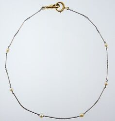 Platinum Pearl Watch Chain With 14k Yellow Gold Clasp
