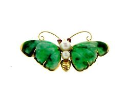 GORGEOUS 14k Yellow Gold Jade Pearl & Ruby Butterfly Pin Circa 1950!