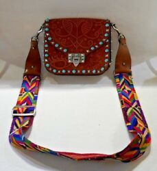 VALENTINO Brown Leather Turquoise & Multi Color Strap Cross Body Bag wDustbag