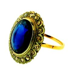Stunning Victorian 14k Yellow Gold Platinum Diamond And Synthetic Sapphire Ring