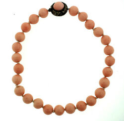 C.1900 Victorian Choker Silver Clasp Bead Necklace With One Coral
