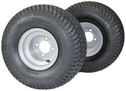 20x10.00-8 With 8x7 Silver Wheel Assembly Set Of 2 For Golf Cart And Lawn Mower