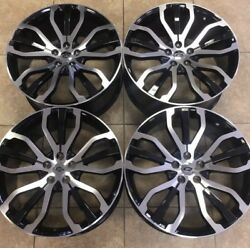 22 Range Rover Stormer Style Rims Wheels Land Rover Autobiography Blk And Machn'd