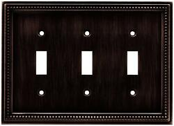 Brainerd 64408 Beaded Triple Toggle Switch Wall PlateSwitch PlateCover Bronze