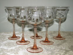 Etched Wine Glasses Bull Terrier Pink Stems Lot of 6