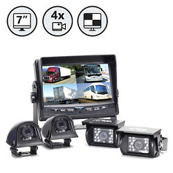 4 Camera Backup System With 7 Tft Lcd Quad Split Screen Weatherproof