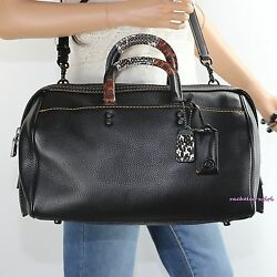NWT Coach Patchwork Snake Handle Rogue 36 Satchel Crossbody Bag 58689 Black RARE