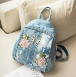 Womens Sweet Floral Embroidery Shoulder Bags Ripped Hole Denim Handbags Backpack