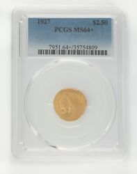 1927 G2.50 Gold Indian Head Quarter Eagle Graded By Pcgs As Ms64+ Gorgeous Gold