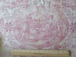 Hand Blocked French Antique Faded Red And White Linen Toile Fabric Panel69lx29w