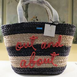 NWT KATE SPADE SHORE THING OUT & ABOUT STRAW WICKER XL BEACH BAG TOTE $298.00