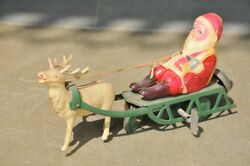 Vintage Wind Up Colorful Santa On Sleigh Tin And Celluloid Toy , Japan