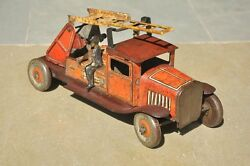 Vintage Fine Red Wind Up Litho Fire Dept. Truck Tin Toy , England