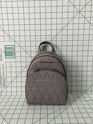 Michael Kors Abbey xs Backpack Perforated Leather Crossbody Purse Pearl Grey