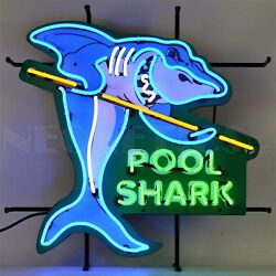 Pool Shark Neon Sign - Billiards - 8 Ball - Pool Table - Game Room - Cue Sports