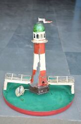 Rare Early Vintage Windup Handpainted Boat And Lighthouse Tin Toy, Germany