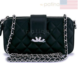 New 18P Chanel Black CC Double Zip Clutch Wallet on Chain WOC Bag