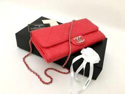 Authentic Chanel Red Coral Lambskin Leather Wallet On Chain WOC Clutch Bag