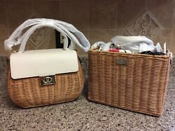 Kate Spade New York Justina Woven Straw Top Handle Bag and Sam Blossom Satchel