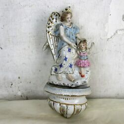 French Holy Water Font Vessel Angel Holding Hand Over Girl Porcelain Marked Htf