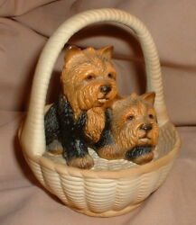 TWO PRECIOUS YORKSHIRE TERRIERS - FIGURE in a BASKET! - MINT CONDITION!