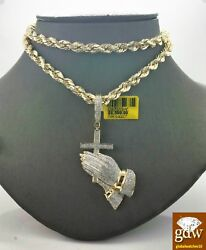 Real 10k Yellow Gold And Diamond Guardian Praying Hand With 26 Inches Rope Chain.