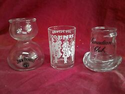 Canadian Club Top Hat Shot Glass Seagram's 100 Pipers Jack Daniel's No 7 Bourbon