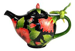 Hibiscus And Hummingbird Hand-painted Ceramic Teapot By Blue Sky Ceramics, 7 Tall