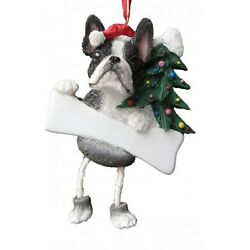 Boston Terrier Dangling Wobbly Leg Dog Bone Christmas Ornament