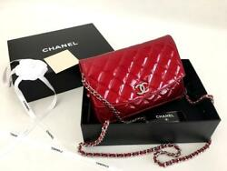 Authentic Chanel Red Patent Leather Wallet on Chain WOC Messenger Clutch Bag