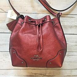 NWT Coach Baby Mickie Drawstring Bucket Shoulder Bag Crossbody Metallic Cherry