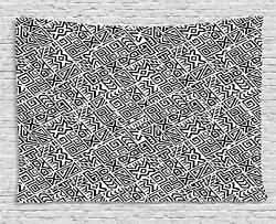 Ethnic Monochrome Tapestry Wall Hanging Form Bedroom Dorm Room Decor 2 Sizes