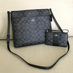 100% AUTH COACH!  NWT!  F58297 & F58035 BLACK SMOKE FILE BAG & WALLET COMBO!