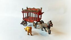 Vintage 1930and039s Kenton Cast Iron Overland Circus Cage Wagon W Tiger