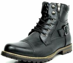 BRUNO MARC Men Military Motorcycle Combat Riding Ankle Leather Boots Size 6.5 15 $33.98