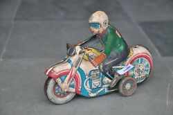 Vintage Ms 702 26 Wind Up Litho Motorcycle Rider Tin Toy , Collectible
