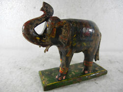 Old Wooden Up Trunk Elephant On Stand Toy