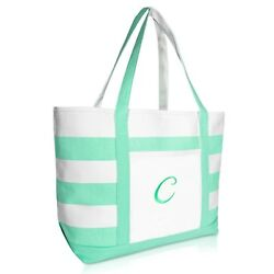 DALIX Monogram Beach Bag and Totes for Women Personalized Gifts Mint Green A Z $19.99