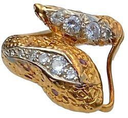 18k Yellow Gold Old Diamond Textured Coiled Snake Serpent Ruby Eyes Vintage Ring