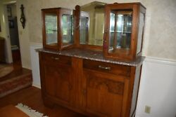 Antique Dining Room Buffet With Marble Top And Glass Display Cases