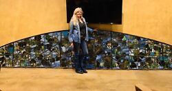 ATT To Tiffany  Large Arch Stained Glass Grape Arbor Window