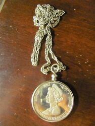 Vintage Sterling Silver Large Neck Chain And Large Coin Pendent